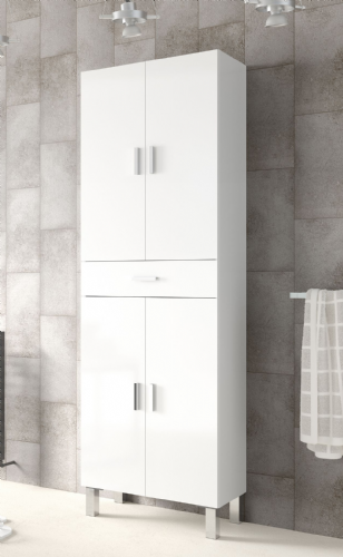 Valdo Tall Bathroom Cupboard White Gloss - 2608